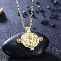 Caeser Coin Cross Necklace in 18K Gold Plated