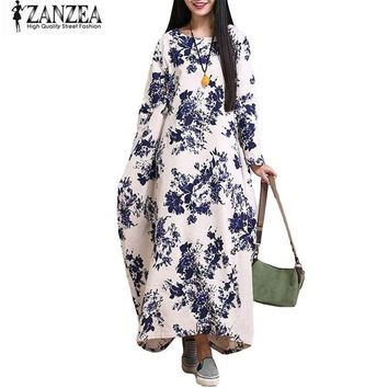 ZANZEA Women Oversized Cotton Linen Floral Baggy Tunic Long Maxi Shirt Dress Kaftan