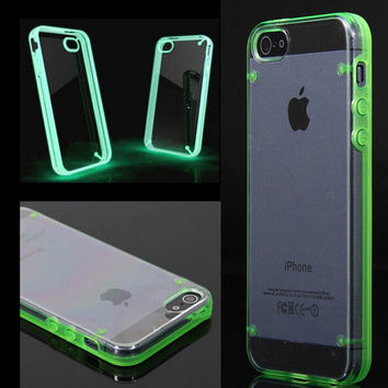 Ultra Thin Clear Transparent Crystal Gel Luminous Style Glowing in Dark Hard back Case Cover for iPhone 4 4S 5 5C 5S