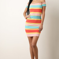 Colorful Striped Ribbed Knit Ruffled Bardot Dress | UrbanOG