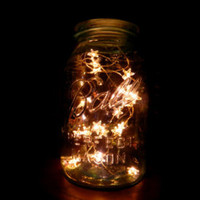 Twinkle Star Jar Vintage Quart Blue Mason with Twinkle Star LED Battery operated lights