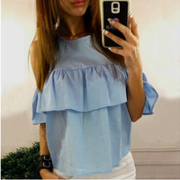 Sky Blue Off Shoulder Flounced T-Shirt