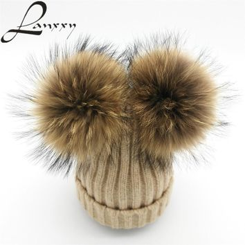 Lanxxy Real Mink Fur Pompom Hat Women Winter Caps Knitted Wool Cotton Hats  Two Pom Poms 2c8c88c30fec