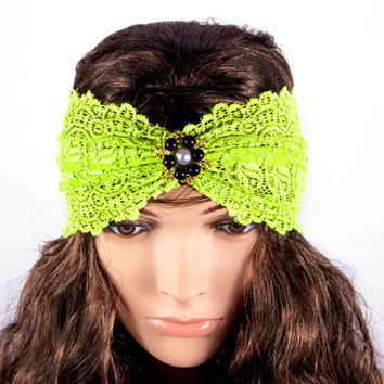 LACE HEADBAND, flower lace headband,  bright green wide lace headband by LoveKnittings