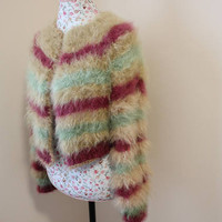 Awesome Burgundy Brown Green stripes cardigan 100% angora rabbit Handmade SUPER FLUFFY Shrug/ This Bolero Will fit size S/M/L/ Ready to ship