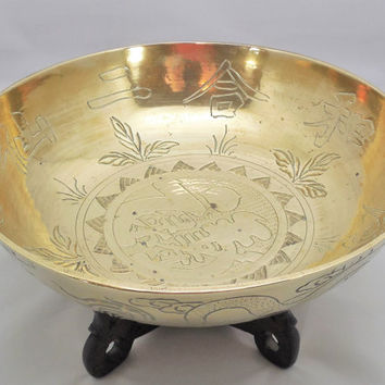 "Brass Etched Bowl with Wood Stand 10"", Vintage Brass Bowl with Etched Chinese Characters, Made in China Brass Dragon Bowl"