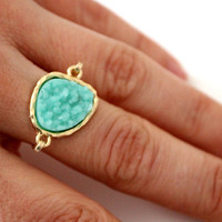 Druzy light mint  ring 14kt gold filled - custom size