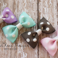 Tuxedo Hairbows, Set of 4, Lavender Gray Aqua Light Pink, Polka Dot Hairbows, 2.5 Inch, Toddler Hair Bows, Girls Bows, Hair Accessories
