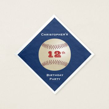 Baseball Paper Napkins, 12th Birthday Party Napkin