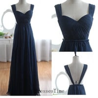 Long prom dress - navy evening dress / chiffon party dress / navy prom dress / long evening dress / formal party dress for girls