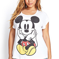 FOREVER 21 PLUS Mickey Mouse Graphic Tee Ivory/Black