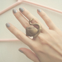 Brass Swan Ring  Adjustable Nouveau Ring by Nidodepez on Etsy