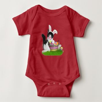 Easter Kitten With Bunny Ears & Basket of Eggs Baby Bodysuit