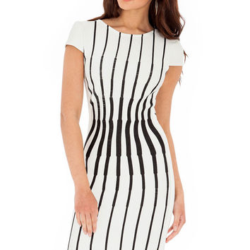 White Backless Striped Short Sleeve Mini Bodycon Dress