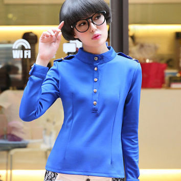 Blue Long Sleeve Funnel Buttoned Top