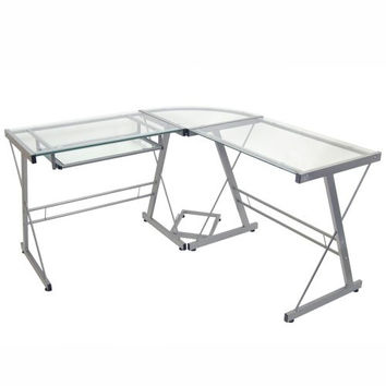 Modern Corner Computer Desk In Metal & Glass