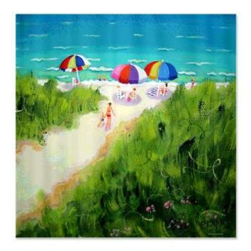 Path to the Beach Shower Curtain> Coastal, Vintage and Urban Chic Shower Curtains> Rebecca Korpita Coastal Design