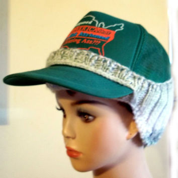 Baseball Cap Cover Knit Green White