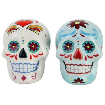 Day Of The Dead Salt & Pepper Shakers (White/Blue)