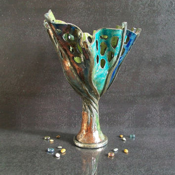 Raku Pottery vase goblet anemone ceramic vessel beach home decor