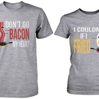 Cute Matching Couple Shirts - Bacon and Egg Grey Cotton Graphic T-shirts