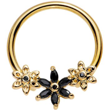 Black CZ Gem Gold Anodized Daisy Chain BCR Nipple Ring 14 Gauge 5/8""