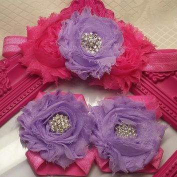 Fancy Pink and Purple Headband and Barefoot Sandal Set