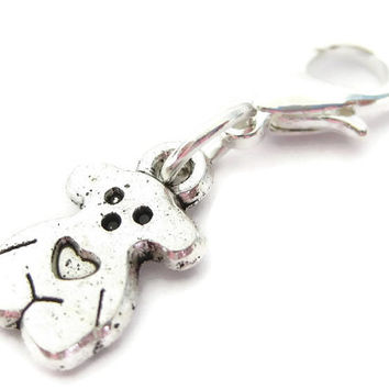Knitting Progress Keeper | Knitting Project Bag Zipper Pull | Crochet Stitch Marker | Removable Stitchmarker | Teddy Bear Charm (P010)