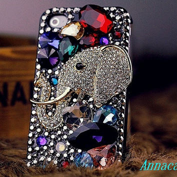 iphone case, i phone 4 4s 5 case, iphone4 iphone4s Bling Crystal  Phone 5 case vintage old style elephant Rhinestone Crystals Cover