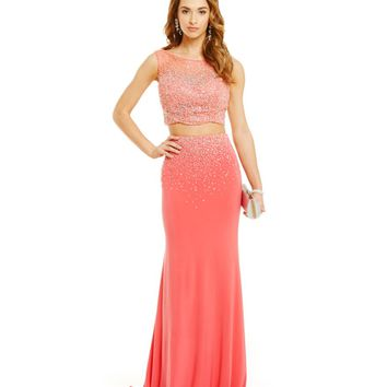Coya Collection Crop-Top Two-Piece Bead Embellished Long Dress | Dillards