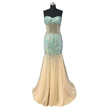 Sweetheart Nude See Through Prom Dresses Beading Mermaid Champagne Prom Gown