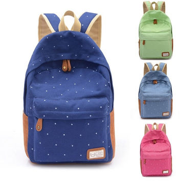 Women Backpack Rucksack Laptop Bag Schoolbag Student Travel Dots 4 Candy Colors 7_S