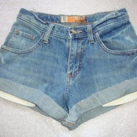 lee distressed MID RISE waist women denim jeans cuff shorts xs size 0