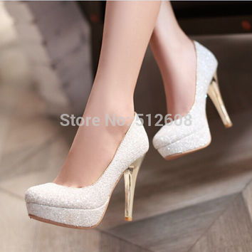 2015 Glittering Fashion sexy party high heel summer women Pumps Wedding shoes lady Pump spool heels black white gold plus size