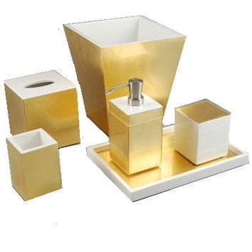 Gold Leaf Inlay with White Lacquer Bath Collection