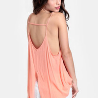 Melon Punch Slit Back Top