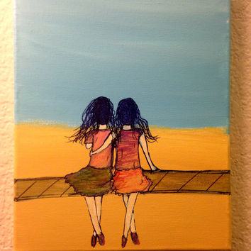 Best friend gift Beach decor Ocean decor Best friends forever never apart Friendship quotes Acrylic painting canvas art Sisters Wall decor