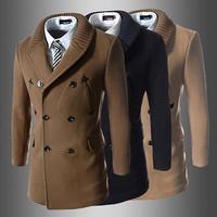Double Breasted Men Fashion Designer Wool Coat