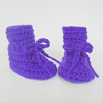 Purple  Boy  Booties 3 To 6  Month Old  Infant Girl Lilac  Slippers Violet  Lavender  Crib Shoes