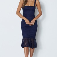 Poppy Midi Dress Navy