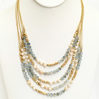 Pearl Dive 5 Layer Necklace In Blue