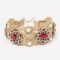 bebe Womens Lace & Ruby Stone Headpiece Gold