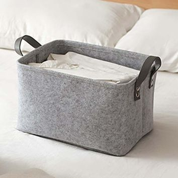 Urijk Modern Felt Toy Book Storage Bag Clothing Foldable Laundry Basket Dirty Clothes Hamper Toys Clothes Storage Baskets Home