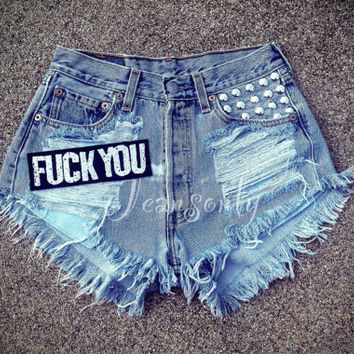 High waisted denim shorts studded destroyed ripped shredded jeans Grunge Tumblr Hipster clothing