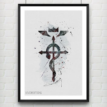 FMA Fullmetal Alchemist Symbol Poster, Watercolor Art Print, Anime Watercolor Art, Boys Room Wall Art Not Framed, Buy 2 Get 1 Free! [No. 73]