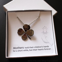 Real Leaf Jewelry, Real Four Leaf Clover Pendant Necklace - Genuine Lucky 4 Leaf Clover Electroplated in Platinum, Unique gift, gunmetal