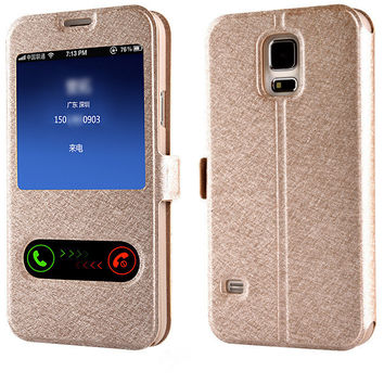 Luxury Window Leather Flip Case For Samsung Galaxy S5 S6 S7 Edge J3 J5 A3 A5 2016 2015 Grand Prime Coque Cover for iPhone 7 Plus