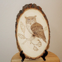 Woodburned Owl on Basswood Oval Plaque; Woodcrafted Owl; Rustic Owl; Nature Art; Rustic Wall Art; Rustic Wall Decor;