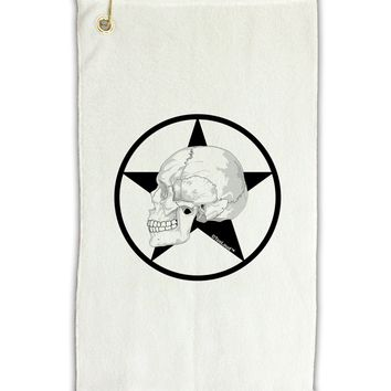 """White Skull With Star Micro Terry Gromet Golf Towel 11""""x19 by TooLoud"""
