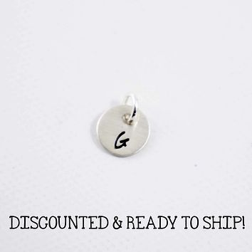 """""""G"""" - Sterling Silver 3/8"""" Charm with Initial ONLY  (no chain) - READY TO SHIP"""